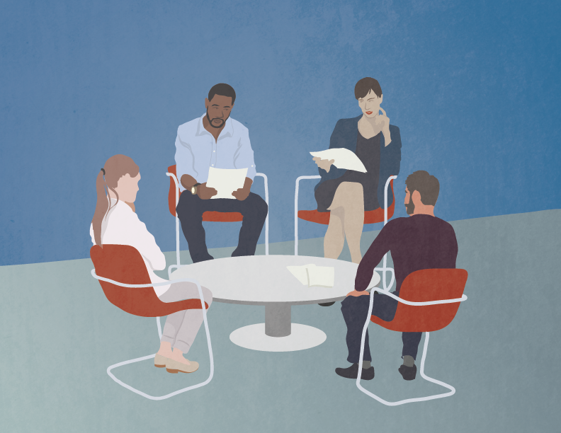 An illustration of a group of four people sitting around a table.
