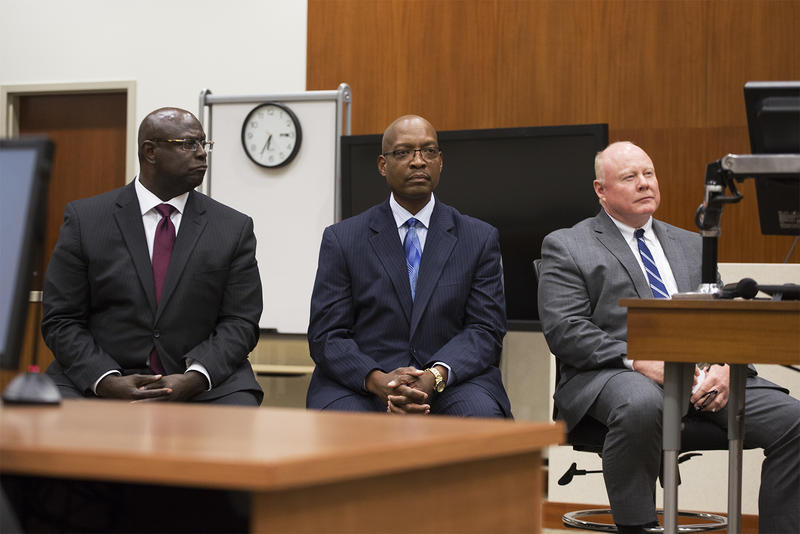 Maj. John Hayden, left, commander of the St. Louis police department's North Patrol Division, and Chief Patrick Melvin, of the Port Arthur Police Department in Texas, center, and interim St. Louis Police Chief Lawrence O'Toole.