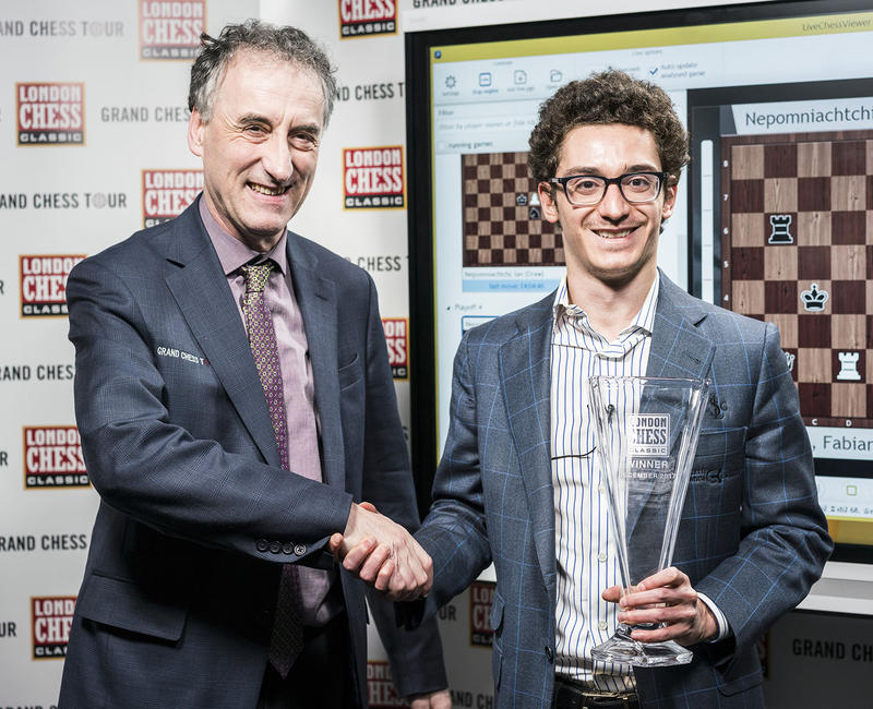 Fabiano Caruana, right, winner of the 2017 London Chess Classic, with tournament organizer Malcom Pein.