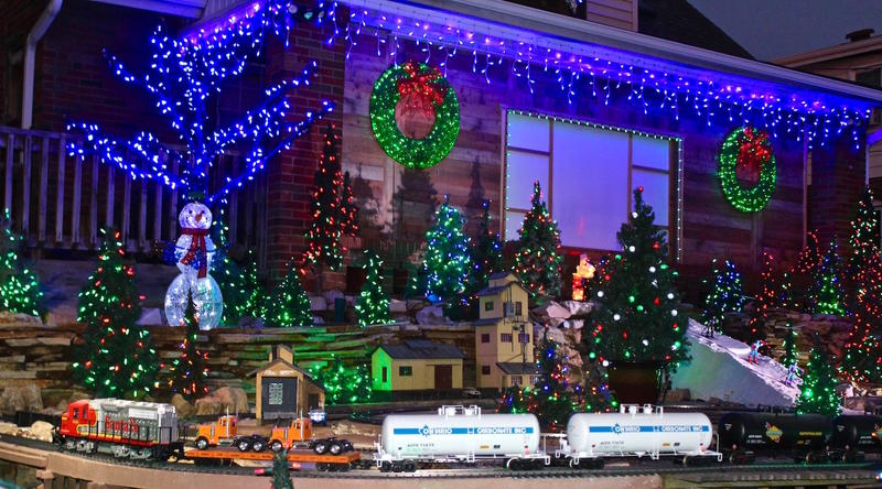The trains are the stars of Dan Schmidt's annual Christmas display in Overland in December 2017