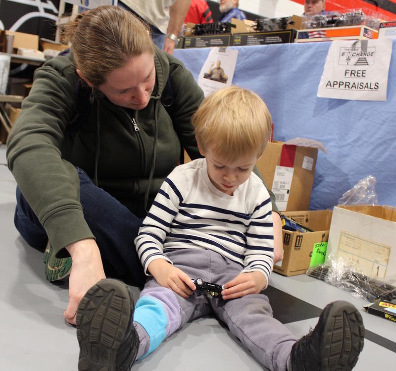 Theresa DeBuhr of St. Louis brought her son Hadrian, 3, to a holiday train show sponsored by a local chapter of the Train Collectors Association in December 2017