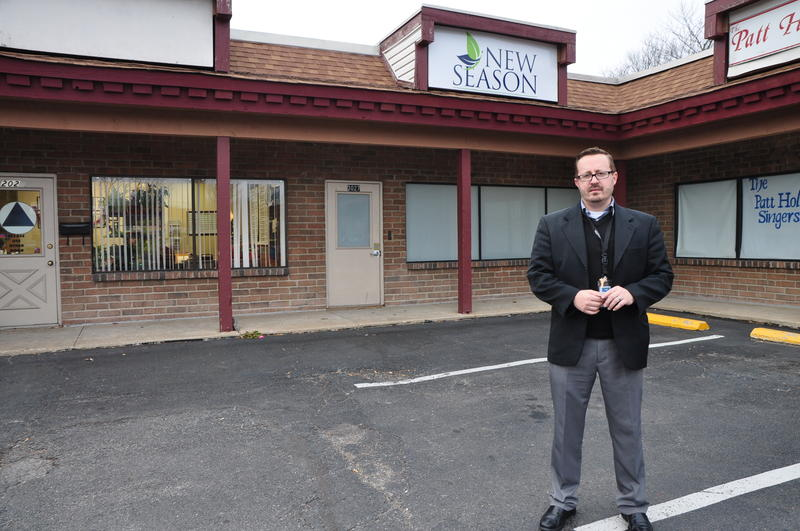 New Season spokesman Todd Eury stands outside the planned clinic in St. Charles.