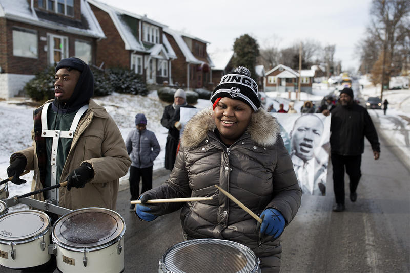 Jabari Blakemore and Anna Murrary Robinson, of the Carnahan High School drum line lead a Martin Luther King Jr. Day march from Wellston to Pine Lawn. Jan. 15, 2017