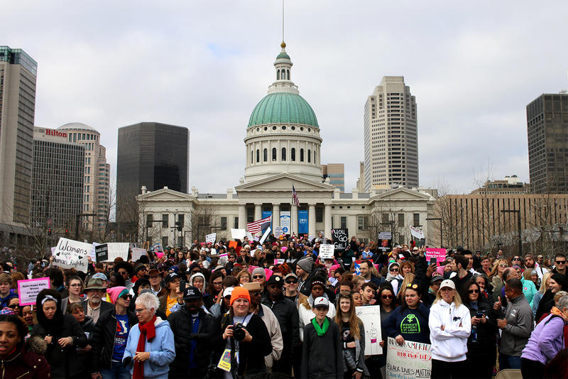 Thousands gather in front of the Old Courthouse in downtown St. Louis at the St. Louis Women's March for Truth.