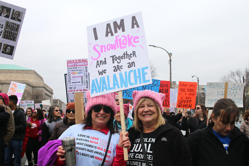 Sisters Amy Torres and Nancy Louis marched in the St. Louis Women's March for Truth.