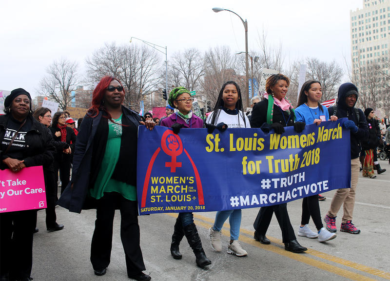 Community activists lead the St. Louis Women's March for Truth.