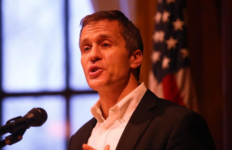 Gov. Eric Greitens speaks to reporters in his office at the state Capitol in Jefferson City on January 22, 2018.