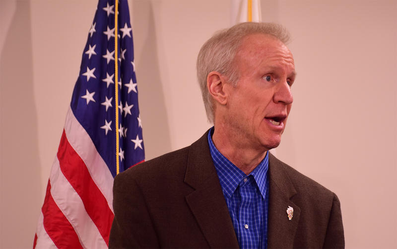 Illinois Gov. Bruce Rauner met with business owners in Edwardsville, Illinois on January 16.