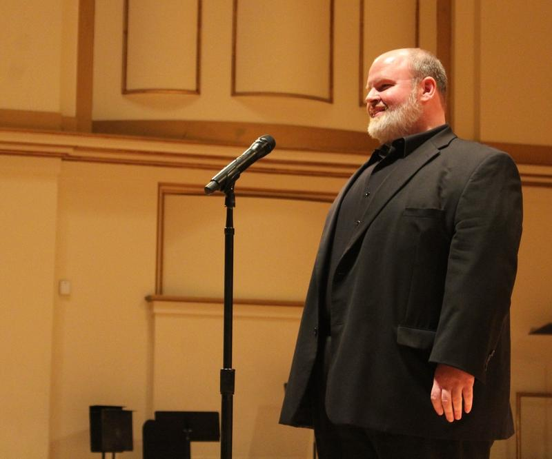 Tenor Scott Kennebeck auditions at Powell Hall for the chance to perform the national anthem at a St. Louis Blues game.