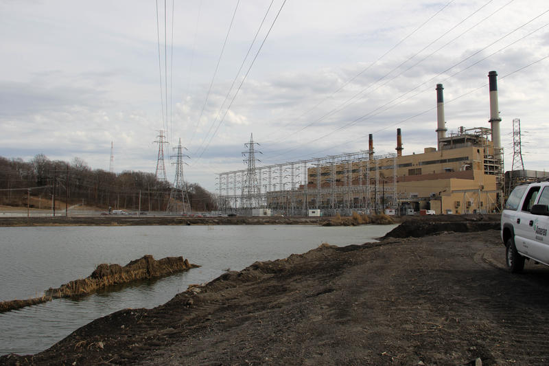 An active coal-ash pond at the Meramec Energy Center in St. Louis County in February 2018.
