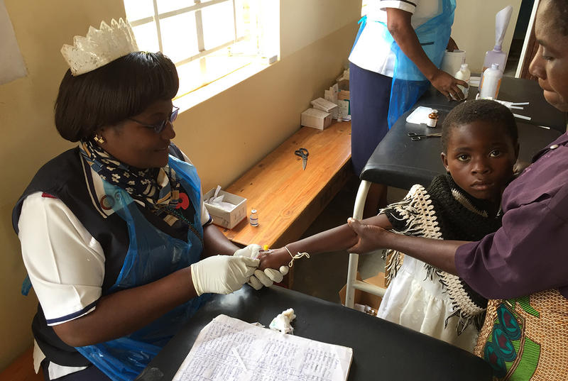 A Malawian nurse collects a blood sample from a child at Kamuzu Medical Center in Llongwe, Malawi, in 2015, to test for malaria infection.