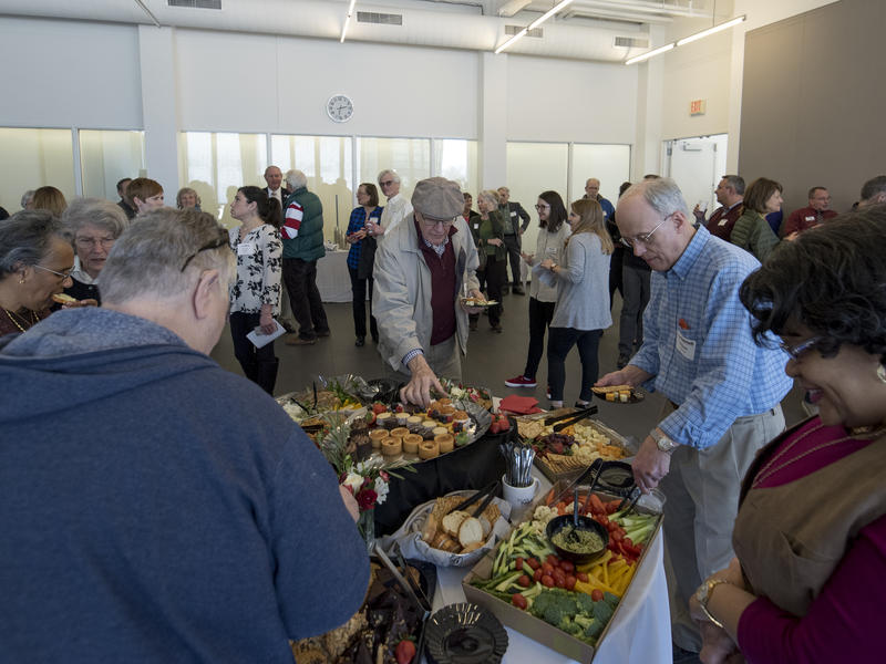 20 Year members enjoy refreshments at an event that honored their long-term support of St. Louis Public Radio. The event was held at UMSL at Grand Center on February 25, 2018.