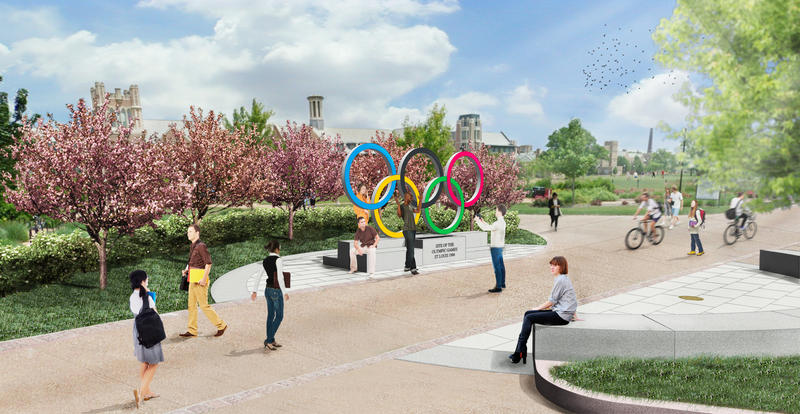 The site of the first Olympics sculpture will be located at the Washington University Field House, one of the locations of the 1904 Olympics.