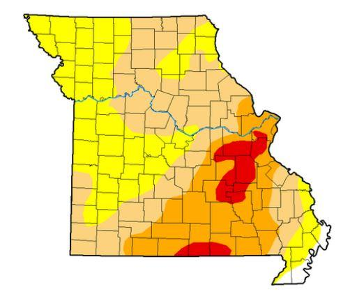 Missouri is experiencing a moderate to extreme drought. (The red areas represent extreme drought and the orange areas represent moderate drought.)