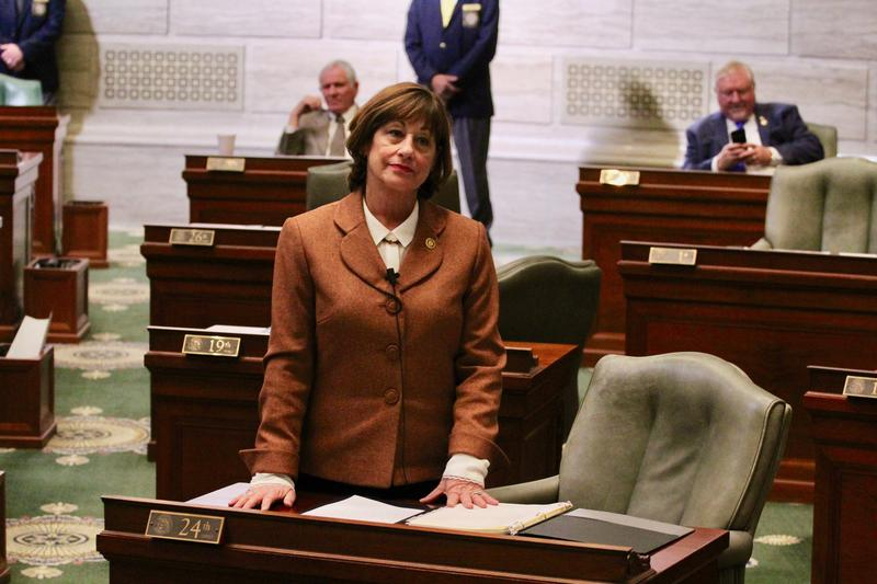 Sen. Jill Schupp, D-Creve Coeur, stands to speak on the first day of the 2018 Missouri General Assembly session.