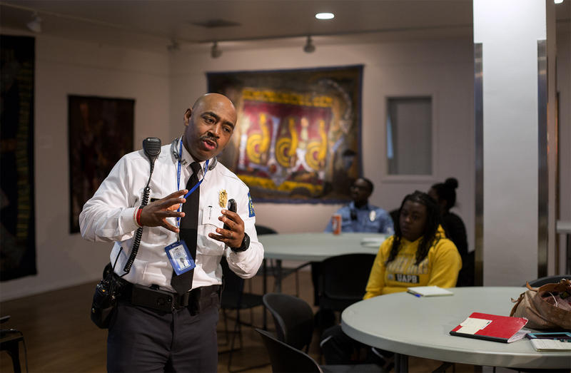 Captain Perri Johnson of the St. Louis Metropolitan Police Department discusses cultural diversity with participants in the Ethical Society of Police pre-academy recruitment program at the Urban League on March 6, 2018.