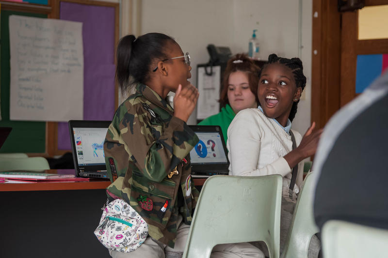 Donye' Winston, 12, reacts to something her classmate Mahlia Pryor, 11, says during their gifted learning class on March 7, 2018, at Normandy's Washington Elementary School.