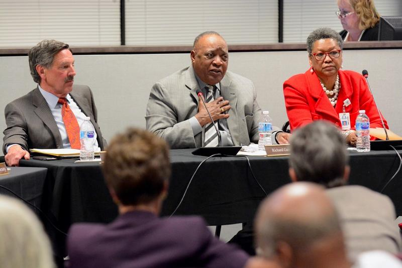 Richard Gaines, center, of the Special Administrative Board, speaks during  a joint meeting with the St. Louis Elected School Board Tuesday, March 13, 2018.