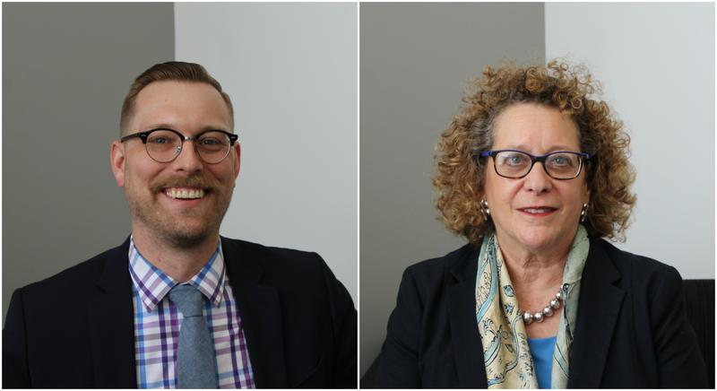 Missouri Historical Society's president and CEO, Frances Levine (right), and managing director of education and visitor experience, Nick Hoffman (left) talked about the organization's rebranding efforts.
