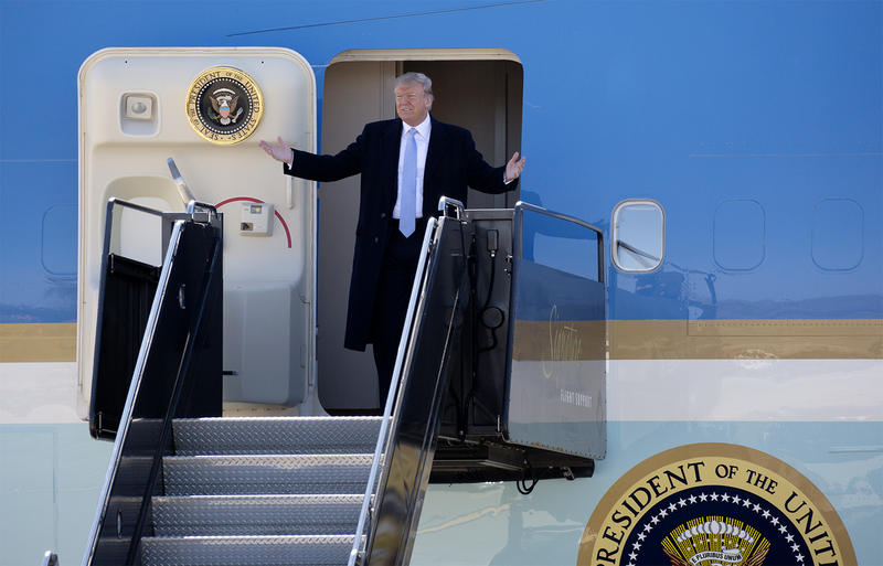 President Donald Trump arrives at St. Louis Lambert International Airport to attend a fundraiser for GOP U.S. Senate hopeful Josh Hawley.
