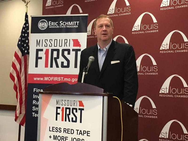 State Treasurer Eric Schmitt announces changes in Missouri's Linked Deposit Program on March 22, 2018, in St. Louis.
