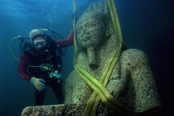 "A total of 293 objects discovered in the Mediterranean Sea comprise ""Sunken Cities: Egypt's Lost Worlds,"" an exhibition that runs from March 25 to Sept. 9."