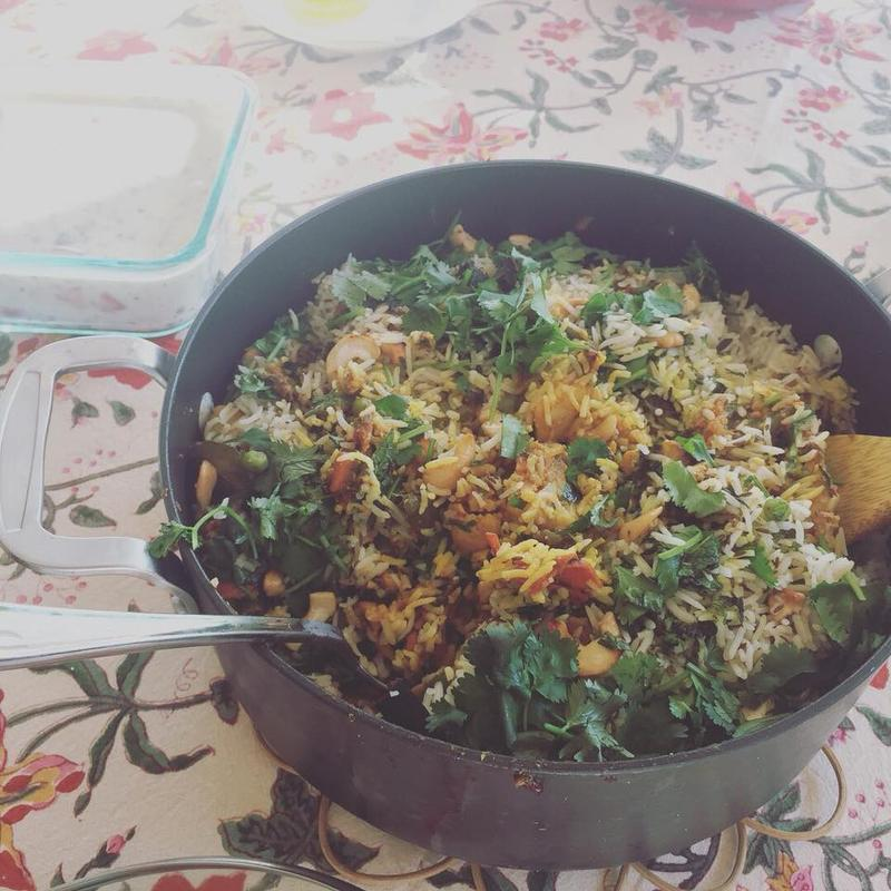Madalyn Painter Talla started a Thanksgiving Day tradition with her family where she cooks biryani, a time intensive rice dish.