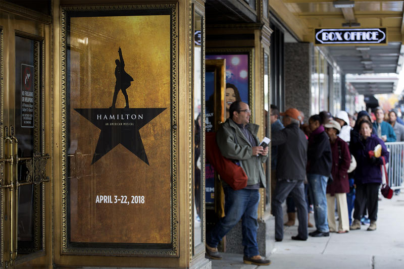 "People lined up outside the Fox Thatre last October to buy ""Hamilton"" tickets."