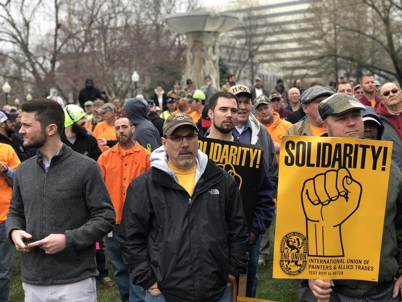 Several hundred union members rallied on the south side of the Missouri Capitol on March 28, 2018.