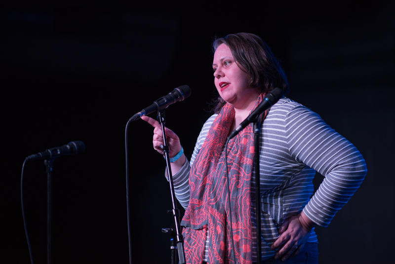 Writer Michaella Thornton telling a story at The Ready Room in St. Louis for The Story Collider's live taping in March 2018.