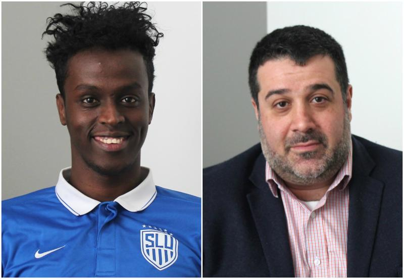 SLU soccer stand-out Saadiq Mohammed (at left) and local attorney Javad Khazaeli talked about how they've been impacted by recent shifts in U.S. policy.