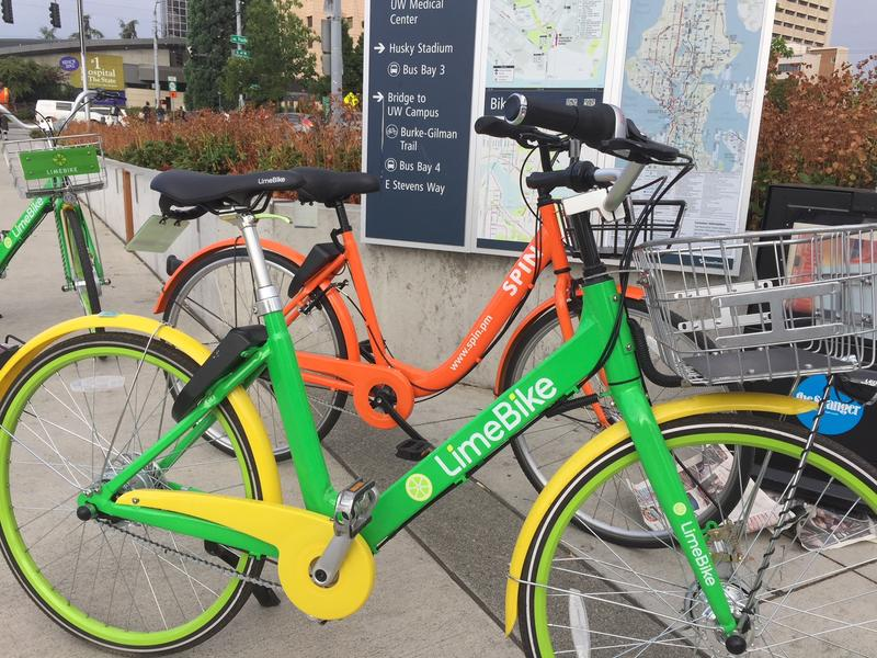 Seattle recently replaced its docked bike share systems with several dockless options. One of the dockless companies, LimeBike (bike pictured in front), applied to offer bike share services in St. Louis. Seattle. March 27, 2018.