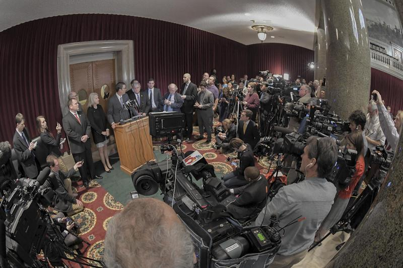 Scores of reporters look on as House Speaker Todd Richardson addresses the media on April 11, 2018. The release of House report on Gov. Eric Greitens' conduct is opening the door to impeachment proceedings.
