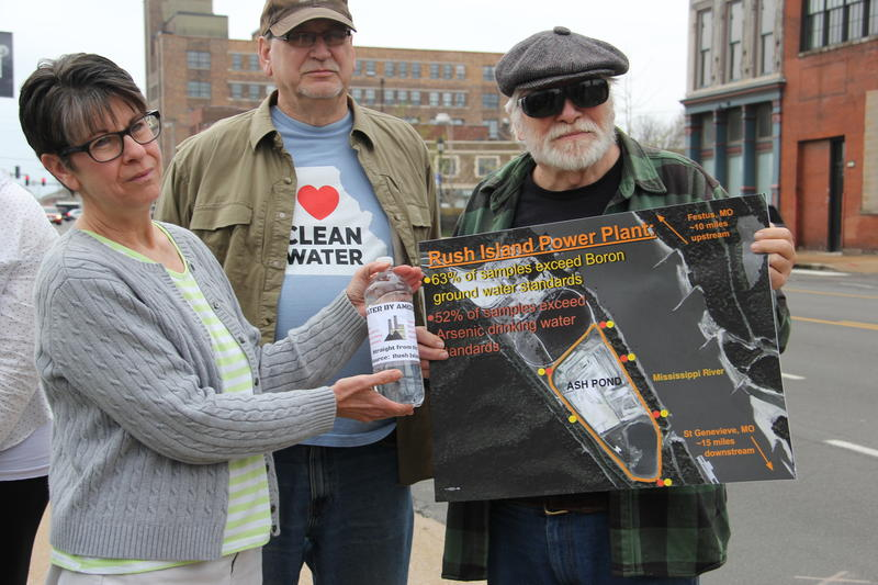 The Missouri Sierra Club and its supporters gathered in front of Ameren Missouri's headquarters in St. Louis in April 2018 to protest against proposed regulations that could weaken oversight of coal ash waste.