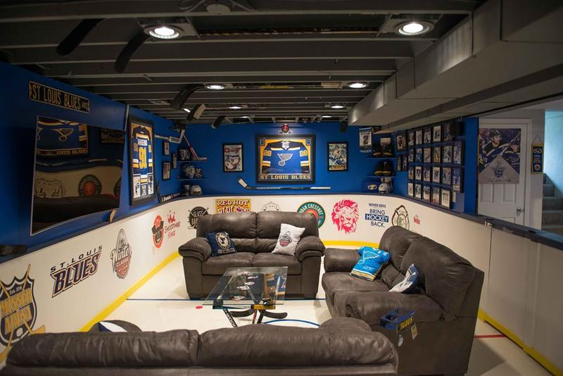 The Minner Arena fan cave is in the basement of O'Fallon photographer Dennis Minner.
