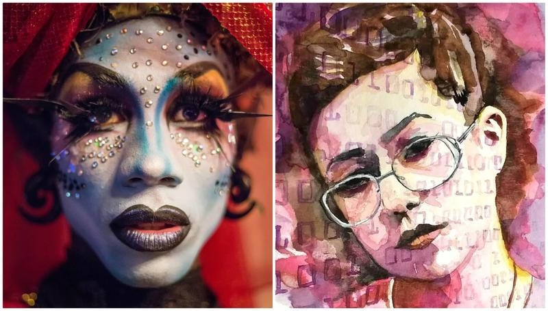 "This image combines two portraits by different artists in the Metro Trans Umbrella Group's ""Transcending the Spectrum"" art exhibition."