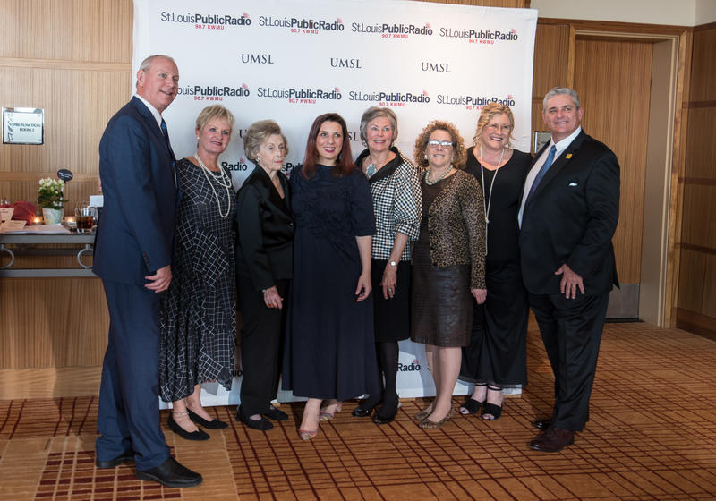 STLPR General Manager Tim Eby (left) with the night's honorees: Charlotte Martin, Barbara Eagleton, Lulu Garcia-Navarro, Sharon Bower, Fran Levine, Yvette Hartsfield, and John Martin.