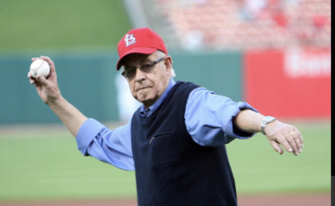 Carl Kasell throws out the first pitch on April 14, 2010 at Busch Stadium.