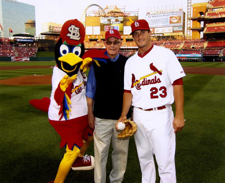 Carl Kasell with Fredbird and David Freese at Busch Stadium on April 14, 2010.