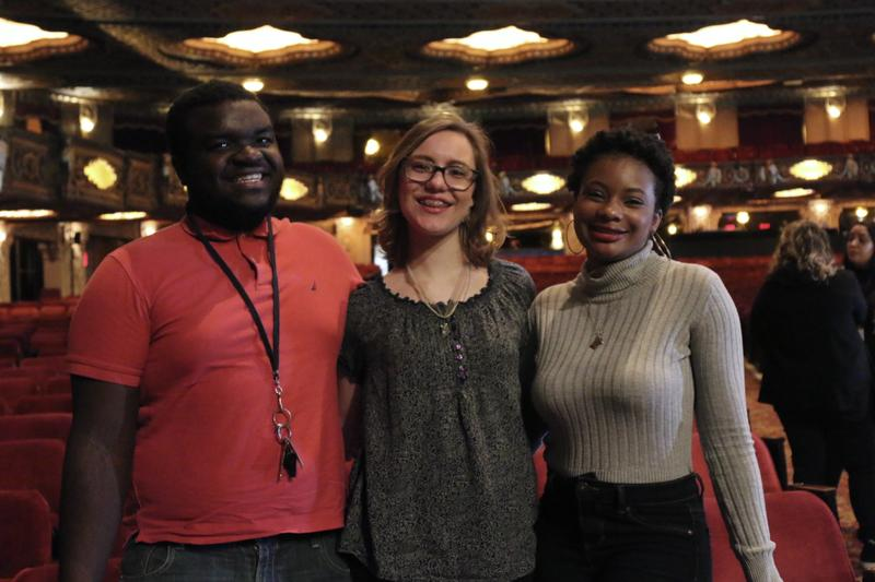 (L-R) McCluer North High School students Dylan Bozeman, Payton Woodruff and Dacia Slater at the Fox Theatre in St. Louis.