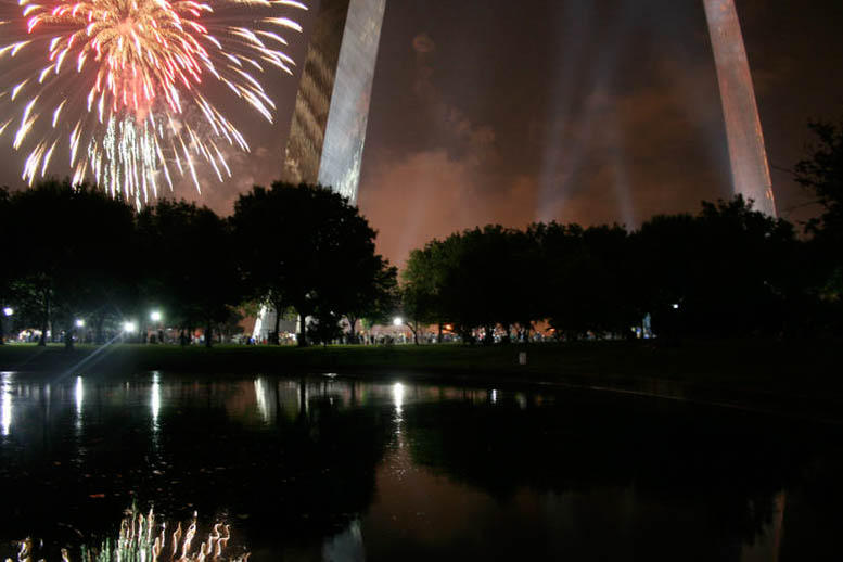Fireworks, fourth of july, reflected, horizontal, arch