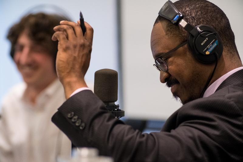 "Joshua Johnson took a break from his live ""1A"" broadcasts from St. Louis on May 3 and 4 to talk host to host with Don Marsh on ""St. Louis on the Air."""