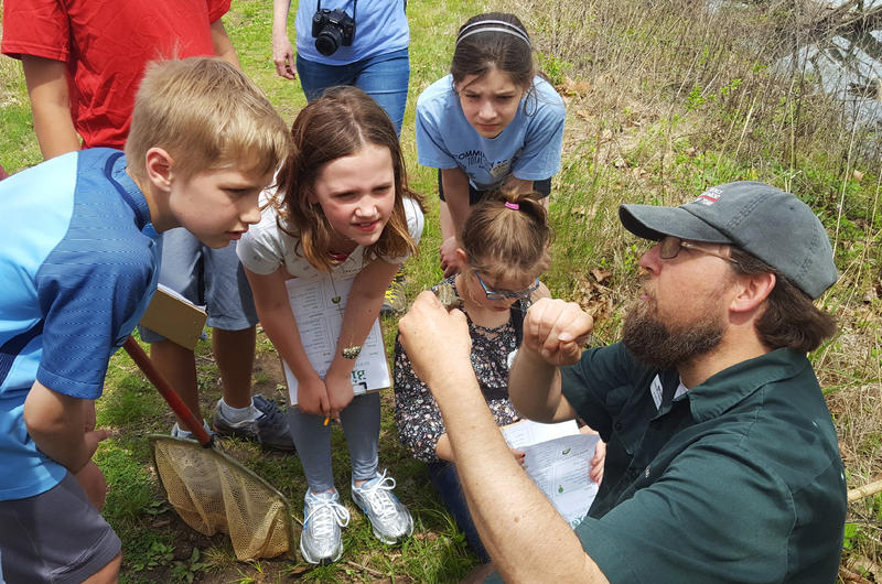 Michael Dawson of the St. Louis Zoo shows an American toad to a group of fourth-graders from Community School on May 4, 2018.