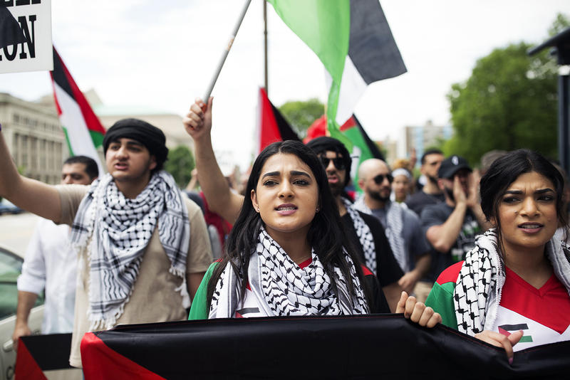 Dozens of Palestinians and supporters, including Hadeel Salameh, marched in downtown St. Louis to commemorate Nakba Day.  May 15, 2018