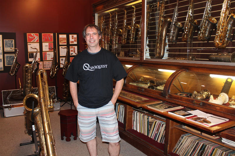 Mark Overton's extensive collection of rare and historically significant instruments sits on the second floor of his Cherokee Street music shop.  5/25/18