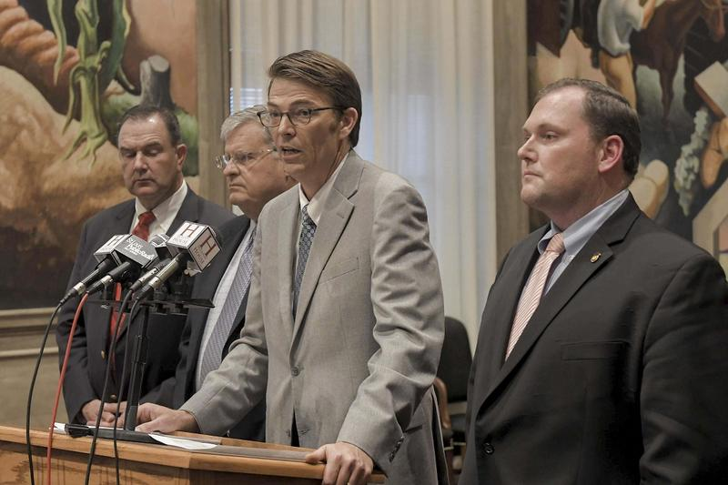 """Speaker of the House Rep. Todd Richardson, center: """"We will not avoid doing what is right just because it is hard or just because it's not the path we hoped to travel."""""""