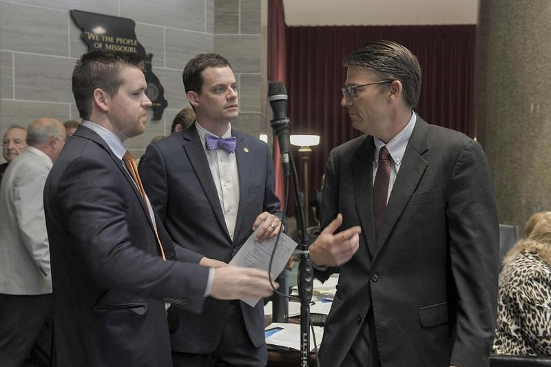 Left to right: Missouri state representatives Scott Fitzpatrick, R-Shell Knob, and Justin Alferman, R-Hermann, along with  House Speaker Todd Richardson, R-Poplar Bluff, during Wednesday's final budget debates.