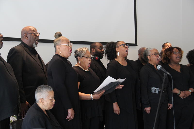 "The Legend Singers perform during ""Out of the Ville,"" a listening party hosted by We Live Here in partnership with 4TheVille, a community group based in the historic Ville neighborhood."