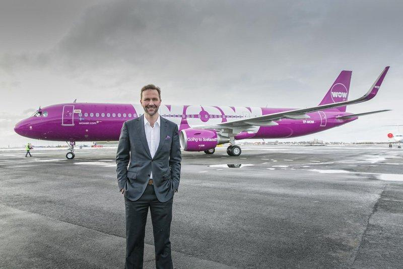 Wow Air's inaugural St. Louis flight left to Reykjavik, Iceland, on May 17. Founder Skúli Mogensen stands in front of a Wow plane.