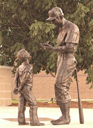 """statue, """"The Boy and The Man"""" by Harry Weber"""